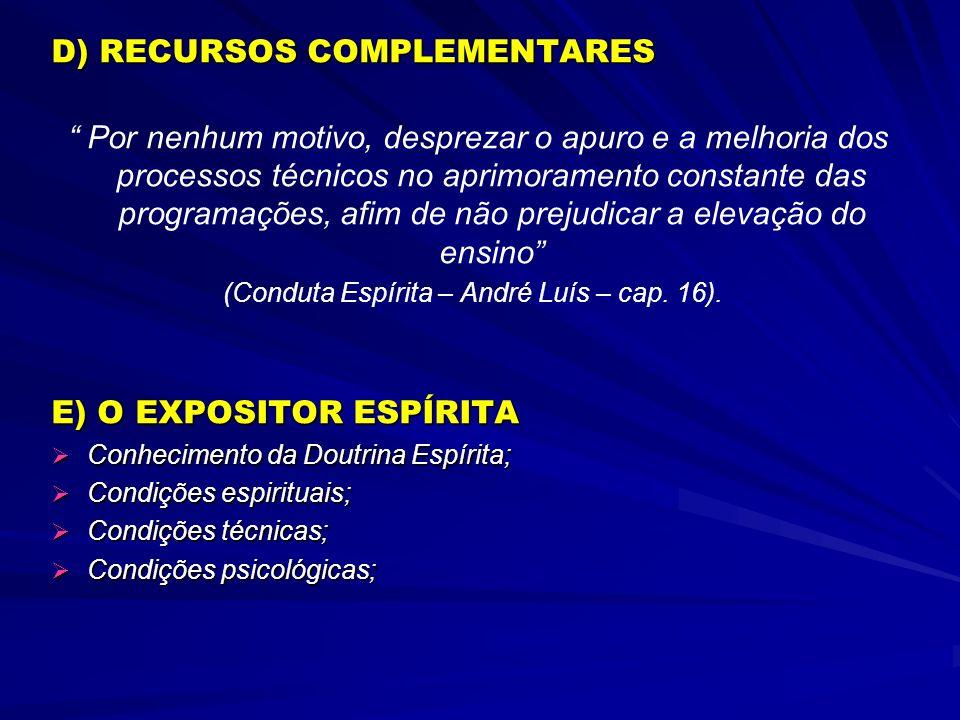(Conduta Espírita – André Luís – cap. 16).