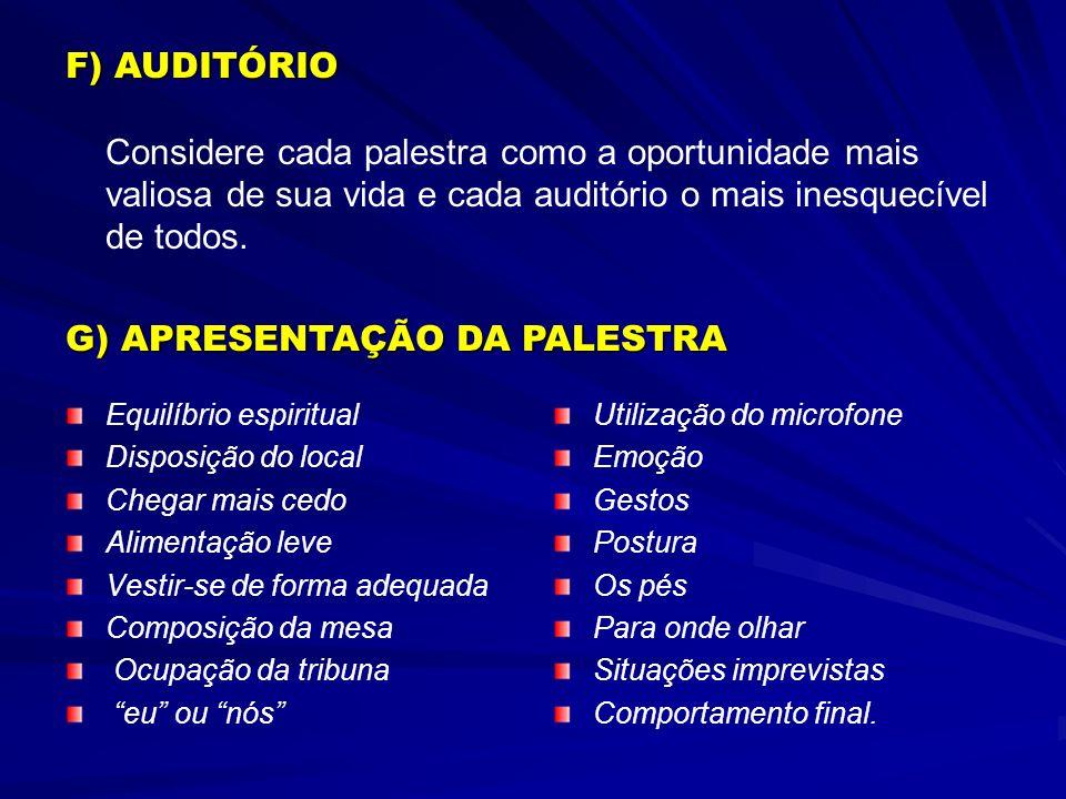 G) APRESENTAÇÃO DA PALESTRA