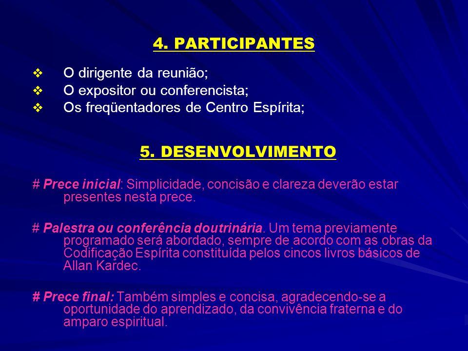 4. PARTICIPANTES 5. DESENVOLVIMENTO