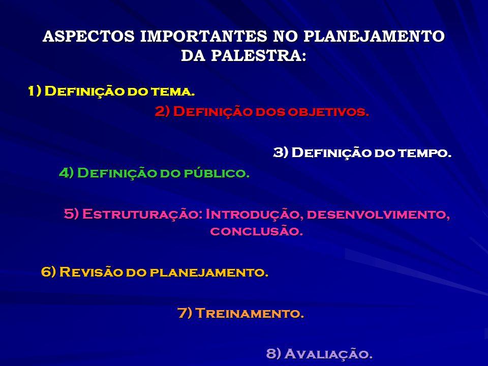 ASPECTOS IMPORTANTES NO PLANEJAMENTO DA PALESTRA: