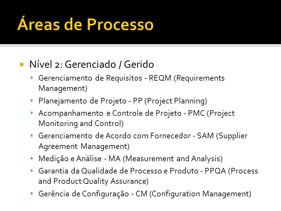 Áreas de Processo Nível 2: Gerenciado / Gerido