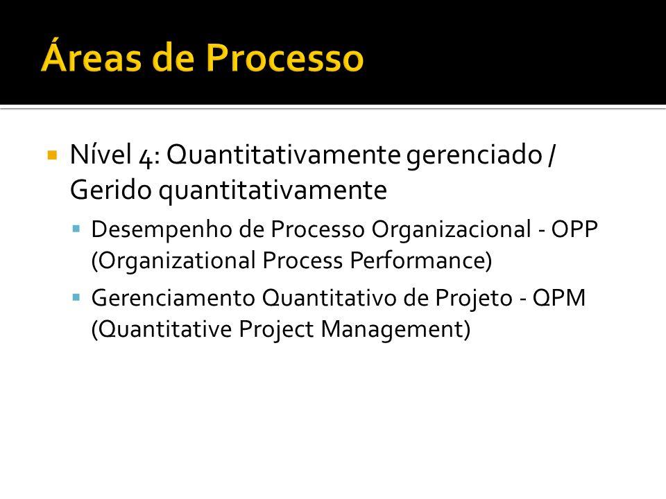 Áreas de ProcessoNível 4: Quantitativamente gerenciado / Gerido quantitativamente.
