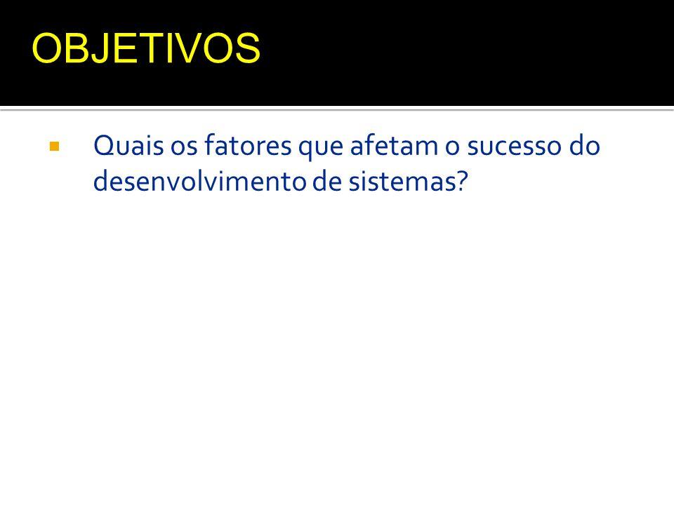 OBJETIVOS Quais os fatores que afetam o sucesso do desenvolvimento de sistemas
