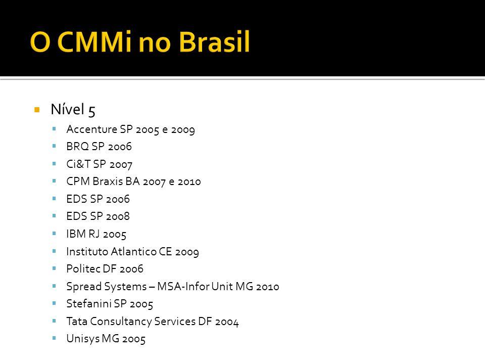O CMMi no Brasil Nível 5 Accenture SP 2005 e 2009 BRQ SP 2006