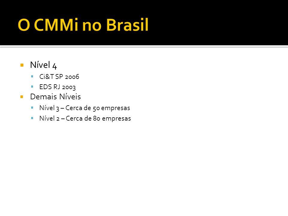 O CMMi no Brasil Nível 4 Demais Níveis Ci&T SP 2006 EDS RJ 2003