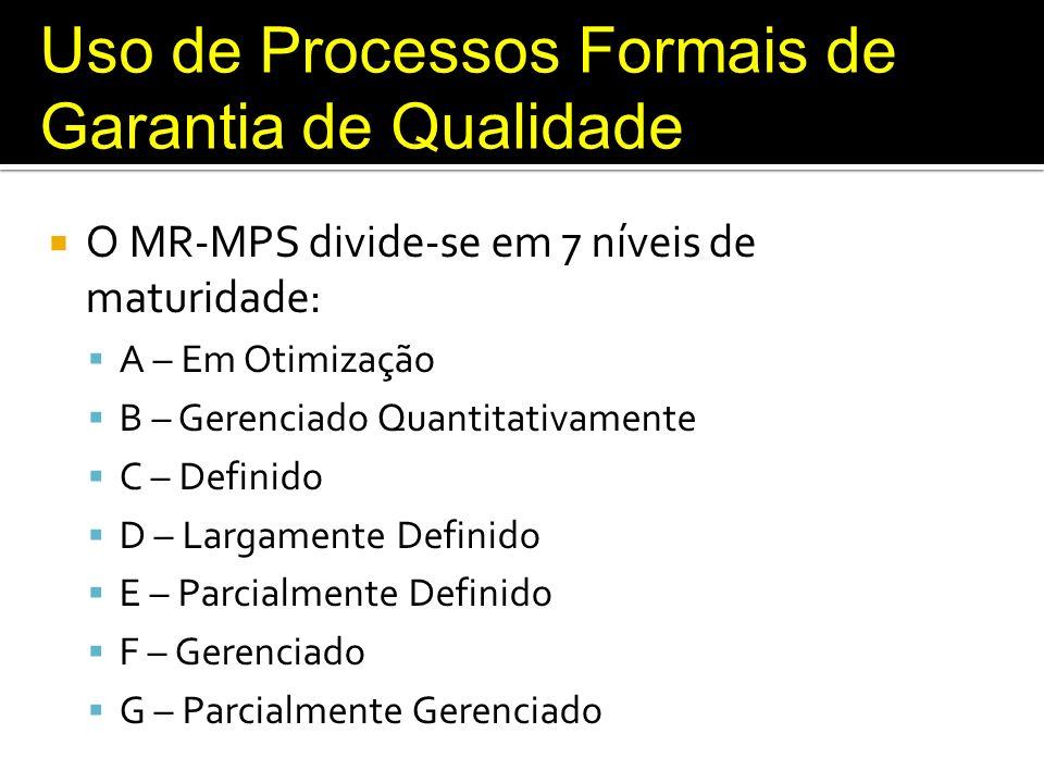 Uso de Processos Formais de Garantia de Qualidade