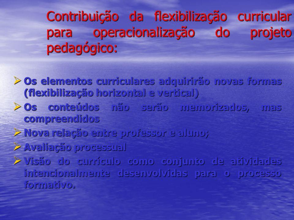 Contribuição da flexibilização curricular para operacionalização do projeto pedagógico: