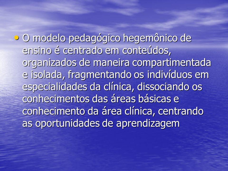 O modelo pedagógico hegemônico de ensino é centrado em conteúdos, organizados de maneira compartimentada e isolada, fragmentando os indivíduos em especialidades da clínica, dissociando os conhecimentos das áreas básicas e conhecimento da área clínica, centrando as oportunidades de aprendizagem