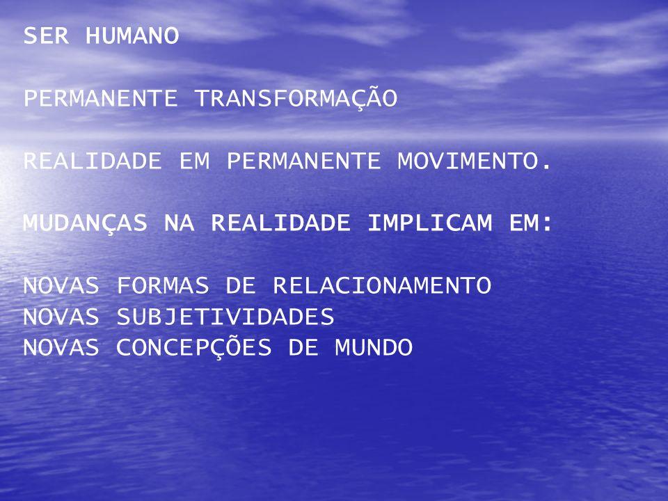 SER HUMANO PERMANENTE TRANSFORMAÇÃO. REALIDADE EM PERMANENTE MOVIMENTO. MUDANÇAS NA REALIDADE IMPLICAM EM: