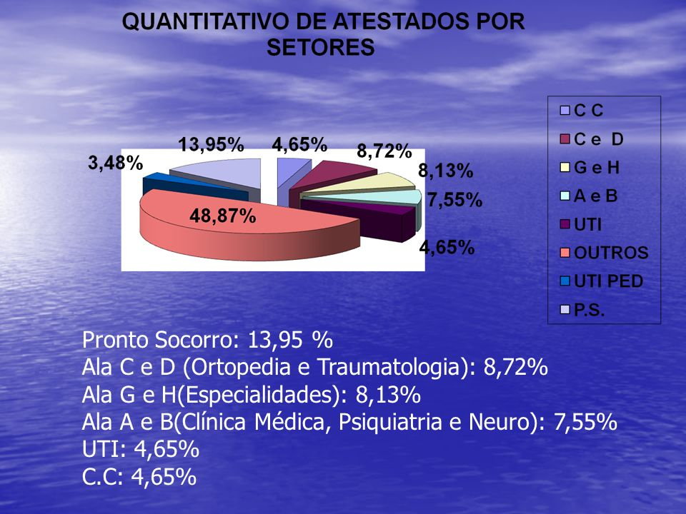 Pronto Socorro: 13,95 % Ala C e D (Ortopedia e Traumatologia): 8,72% Ala G e H(Especialidades): 8,13%
