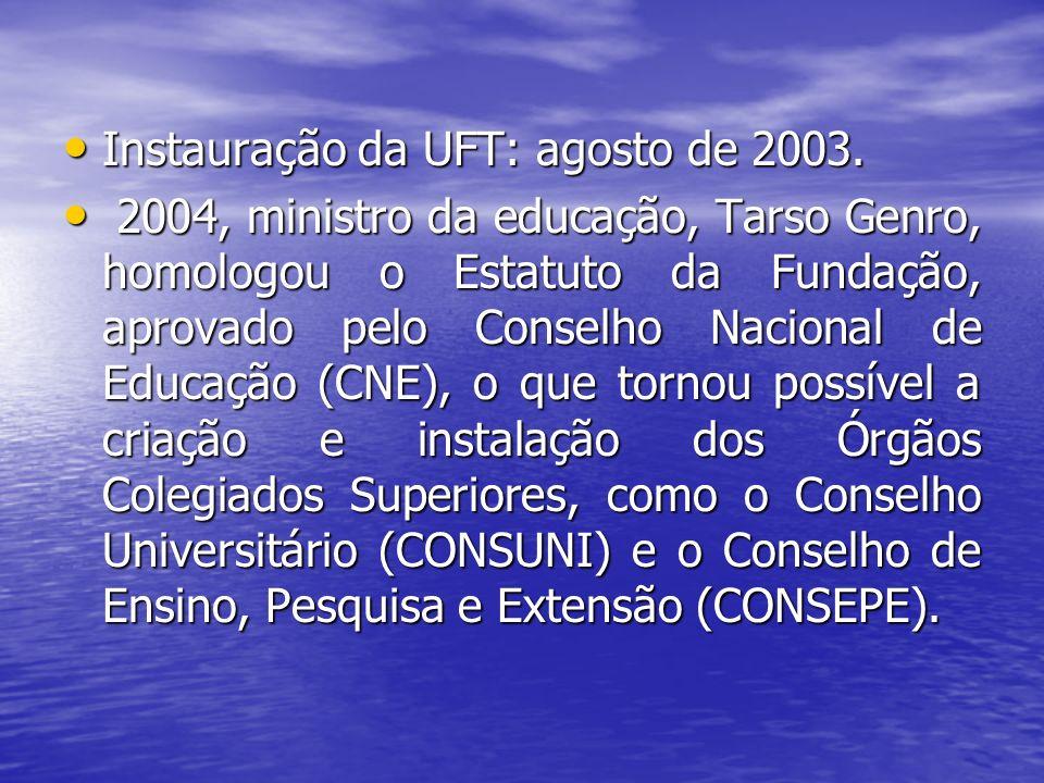 Instauração da UFT: agosto de 2003.