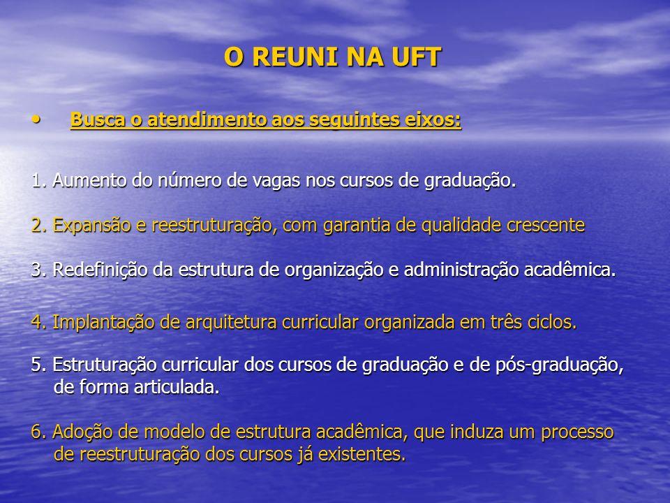 O REUNI NA UFT Busca o atendimento aos seguintes eixos: