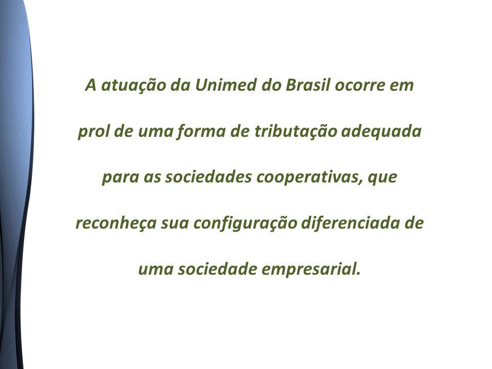 A atuação da Unimed do Brasil ocorre em prol de uma forma de tributação adequada para as sociedades cooperativas, que reconheça sua configuração diferenciada de uma sociedade empresarial.