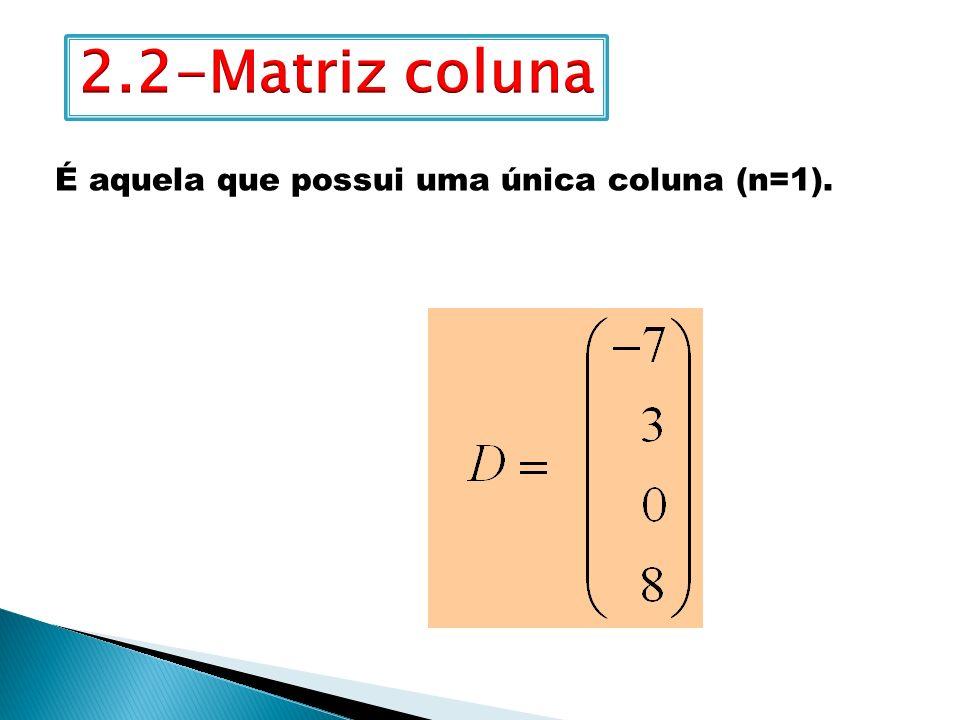 2.2-Matriz coluna É aquela que possui uma única coluna (n=1).