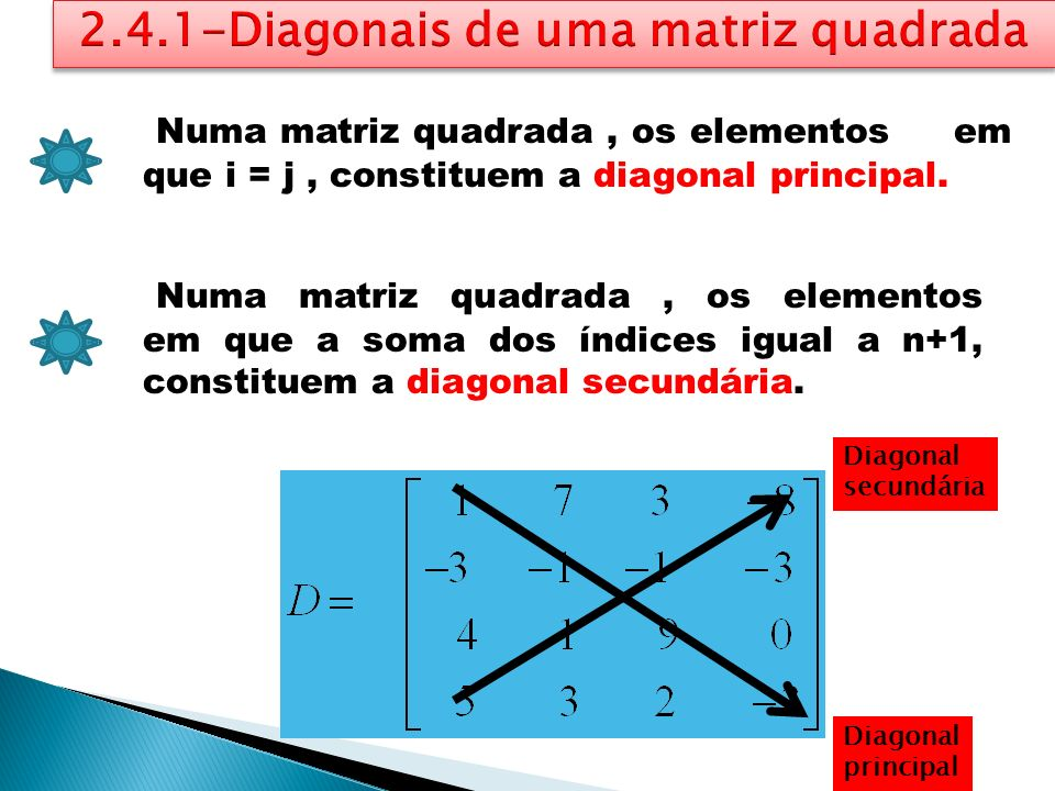 2.4.1-Diagonais de uma matriz quadrada