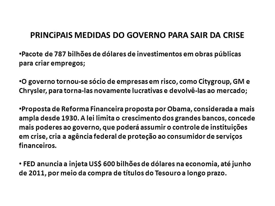 PRINCiPAIS MEDIDAS DO GOVERNO PARA SAIR DA CRISE