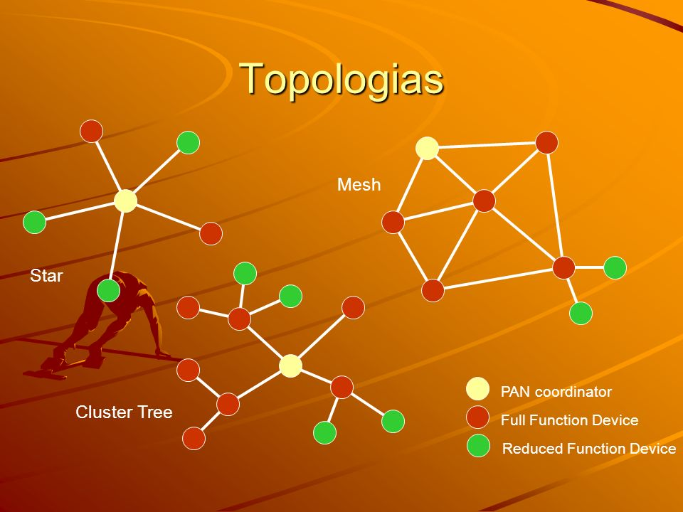 Topologias Mesh Star Cluster Tree PAN coordinator Full Function Device