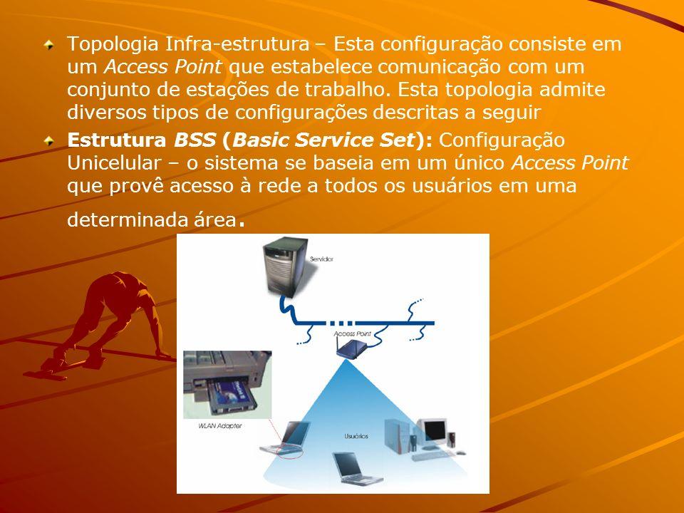 Topologia Infra-estrutura – Esta configuração consiste em um Access Point que estabelece comunicação com um conjunto de estações de trabalho. Esta topologia admite diversos tipos de configurações descritas a seguir