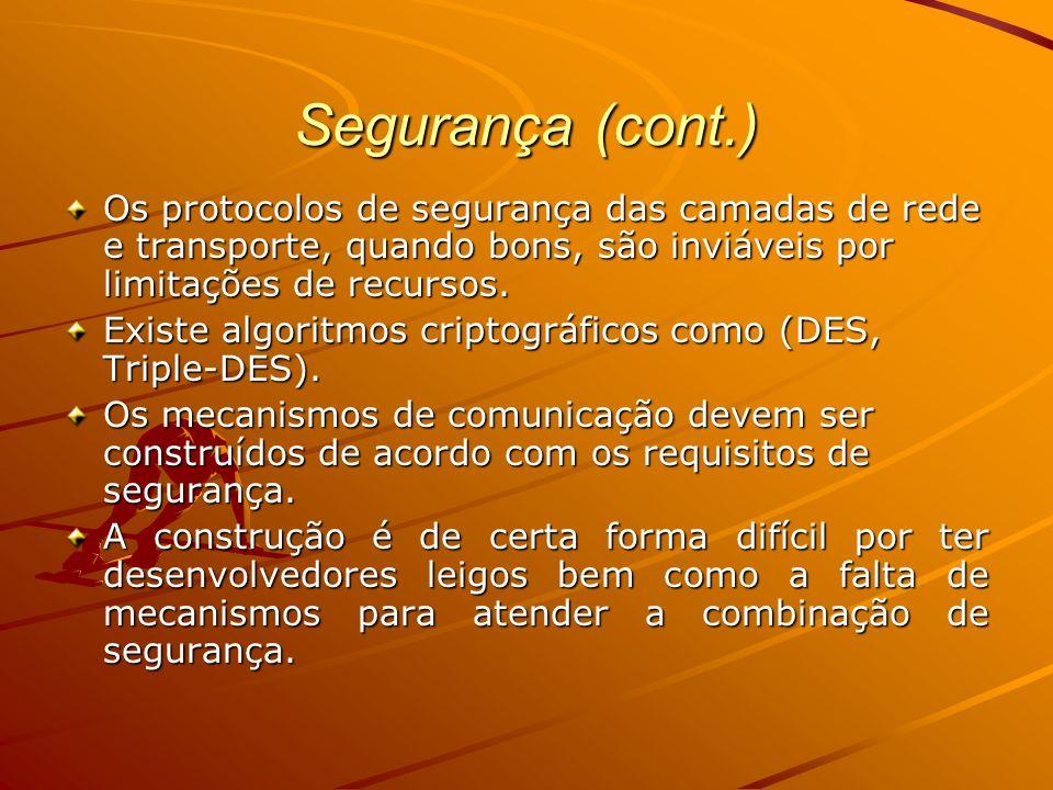 Segurança (cont.) Os protocolos de segurança das camadas de rede e transporte, quando bons, são inviáveis por limitações de recursos.