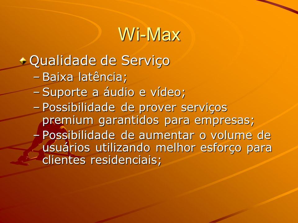 Wi-Max Qualidade de Serviço Baixa latência; Suporte a áudio e vídeo;