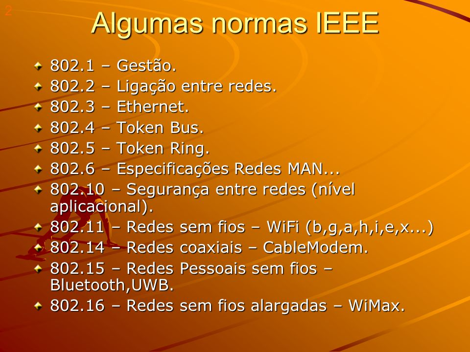 Algumas normas IEEE 802.1 – Gestão. 802.2 – Ligação entre redes.