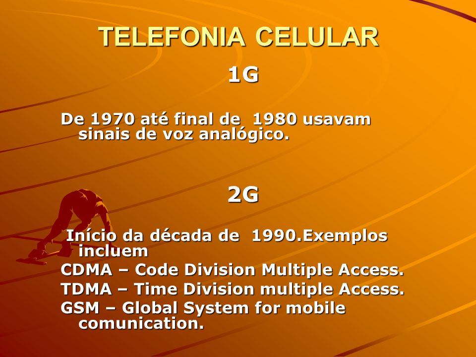 TELEFONIA CELULAR 1G. De 1970 até final de 1980 usavam sinais de voz analógico. 2G. Início da década de 1990.Exemplos incluem.