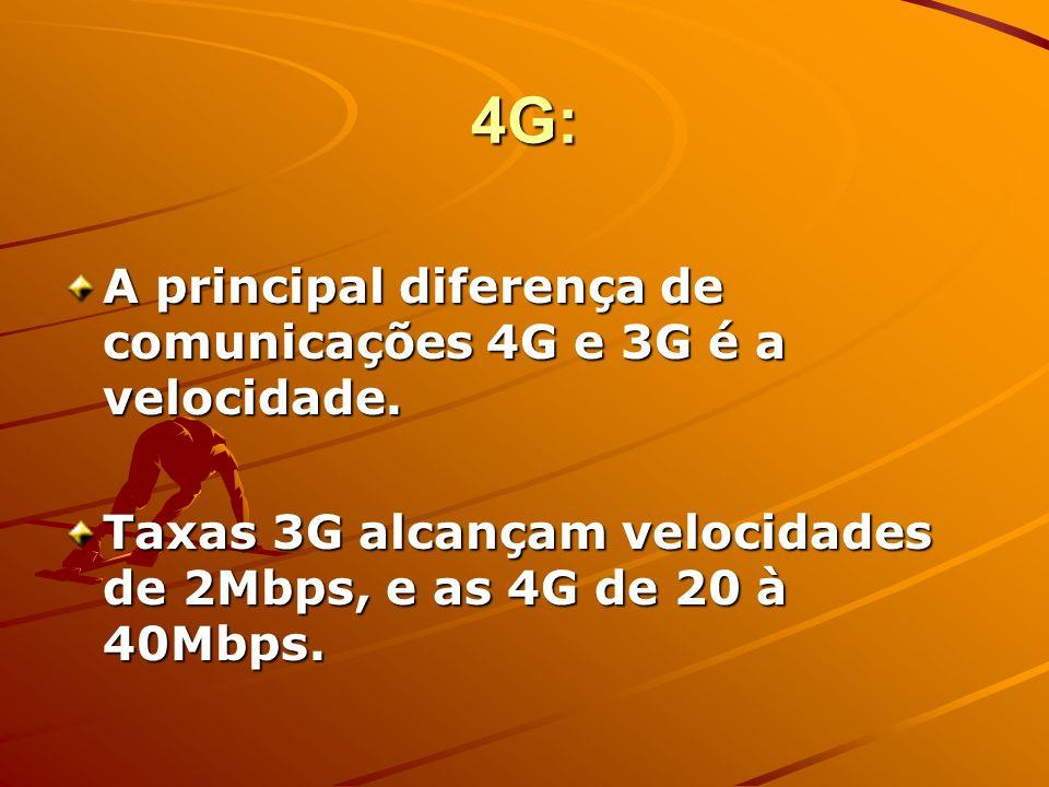 4G: A principal diferença de comunicações 4G e 3G é a velocidade.