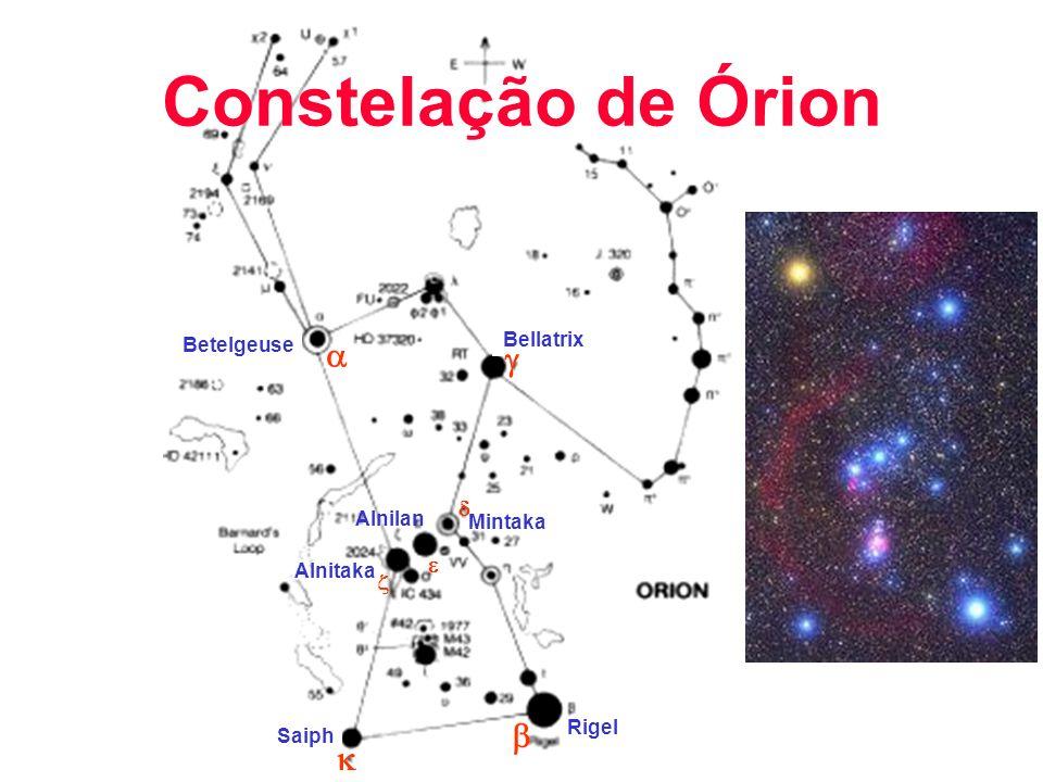 Constelação de Órion a g b k d e z Bellatrix Betelgeuse Alnilan
