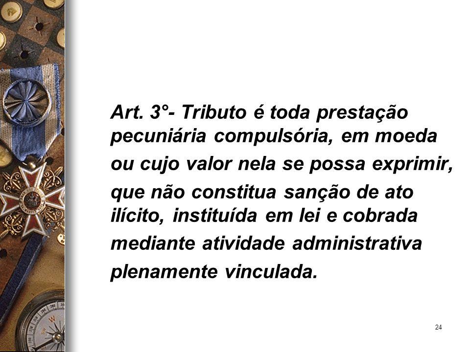 Art. 3°- Tributo é toda prestação pecuniária compulsória, em moeda