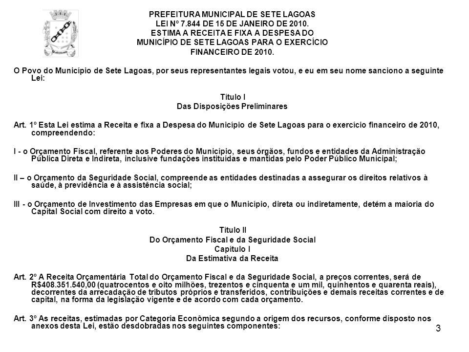 PREFEITURA MUNICIPAL DE SETE LAGOAS
