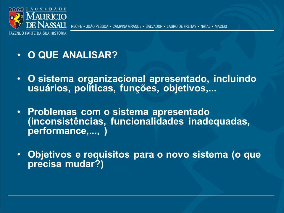O QUE ANALISAR O sistema organizacional apresentado, incluindo usuários, políticas, funções, objetivos,...