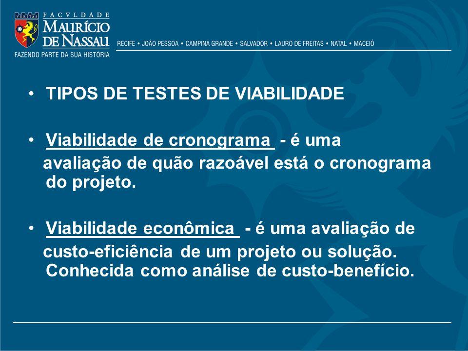 TIPOS DE TESTES DE VIABILIDADE
