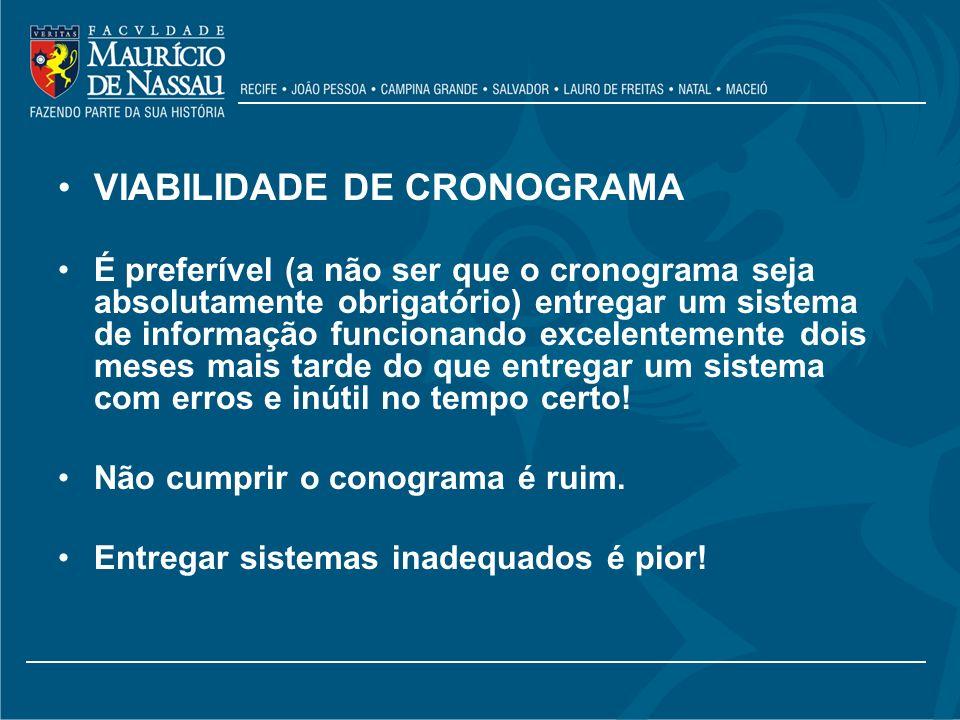 VIABILIDADE DE CRONOGRAMA