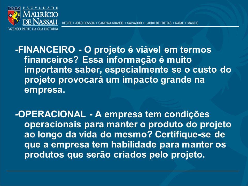 -FINANCEIRO - O projeto é viável em termos financeiros