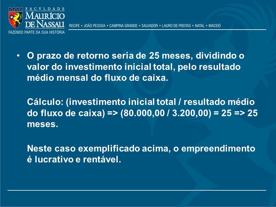 O prazo de retorno seria de 25 meses, dividindo o valor do investimento inicial total, pelo resultado médio mensal do fluxo de caixa.
