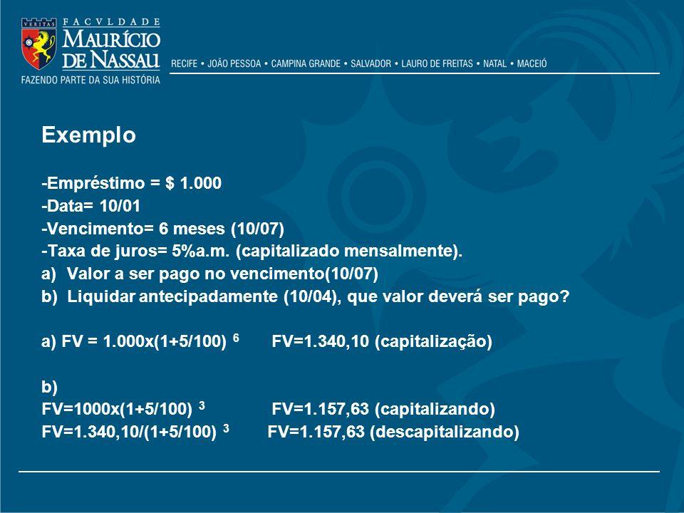 Exemplo -Empréstimo = $ 1.000 -Data= 10/01