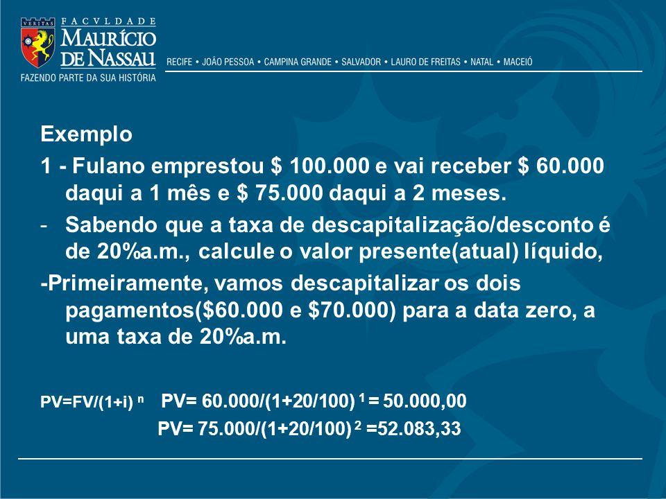 Exemplo 1 - Fulano emprestou $ 100.000 e vai receber $ 60.000 daqui a 1 mês e $ 75.000 daqui a 2 meses.