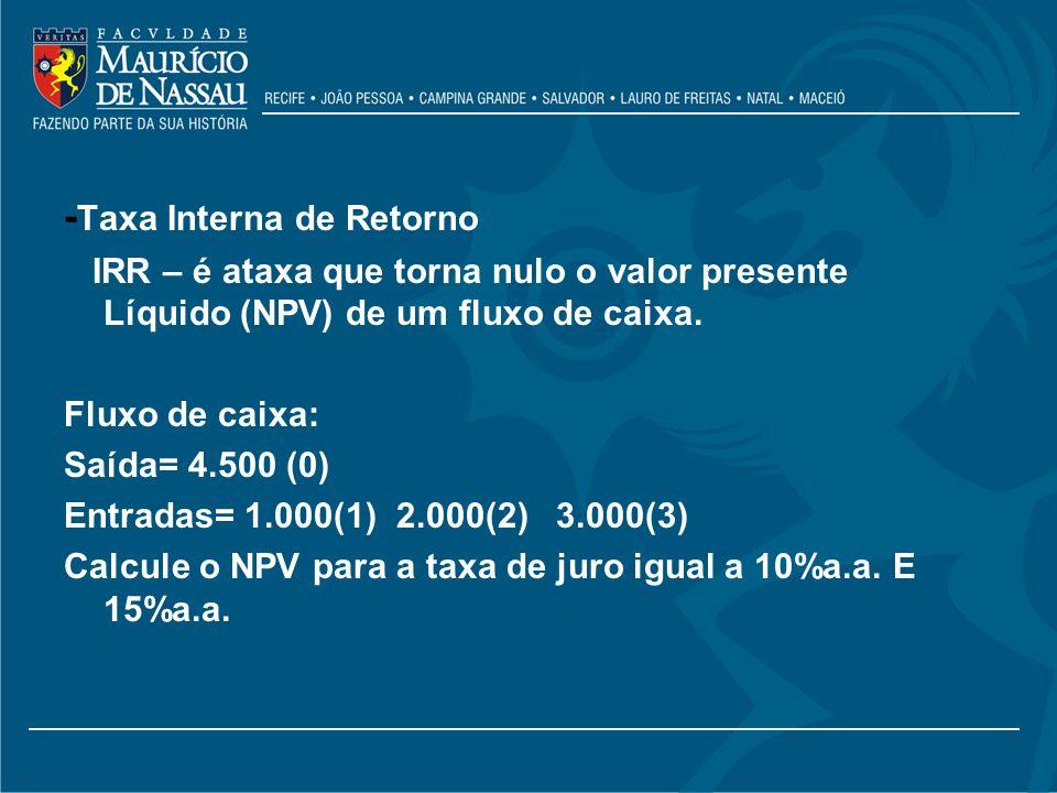 -Taxa Interna de Retorno