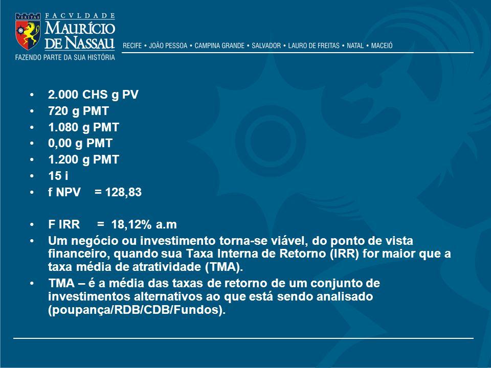 2.000 CHS g PV 720 g PMT. 1.080 g PMT. 0,00 g PMT. 1.200 g PMT. 15 i. f NPV = 128,83. F IRR = 18,12% a.m.