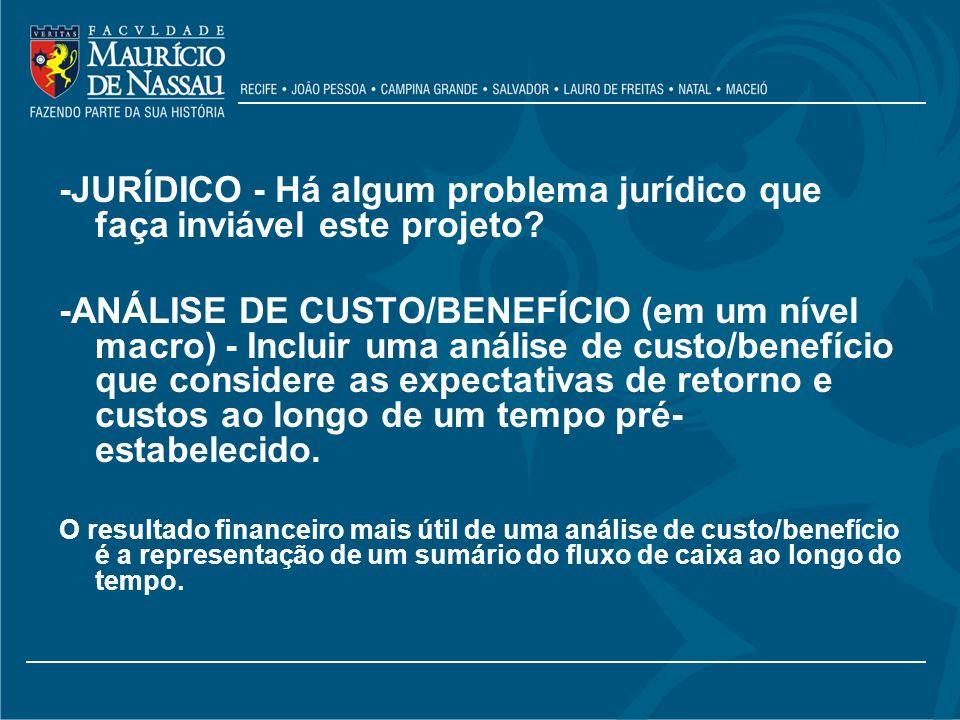 -JURÍDICO - Há algum problema jurídico que faça inviável este projeto