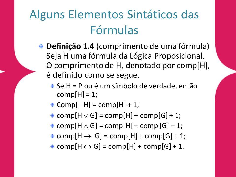 Alguns Elementos Sintáticos das Fórmulas
