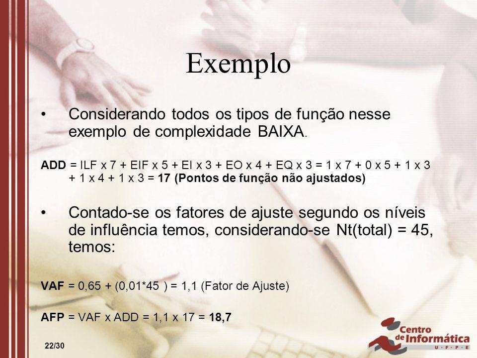 Exemplo Considerando todos os tipos de função nesse exemplo de complexidade BAIXA.