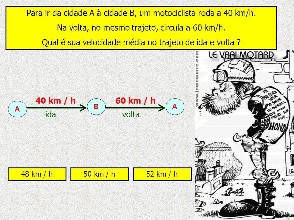 Para ir da cidade A à cidade B, um motociclista roda a 40 km/h.