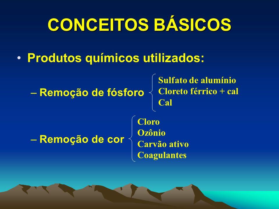 CONCEITOS BÁSICOS Produtos químicos utilizados: Remoção de fósforo