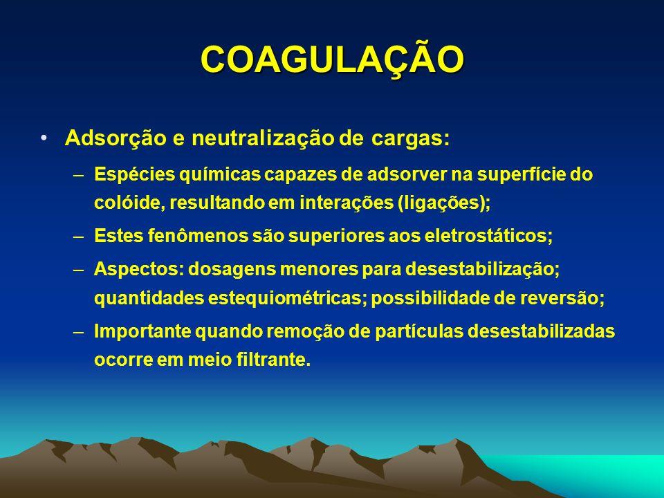 COAGULAÇÃO Adsorção e neutralização de cargas: