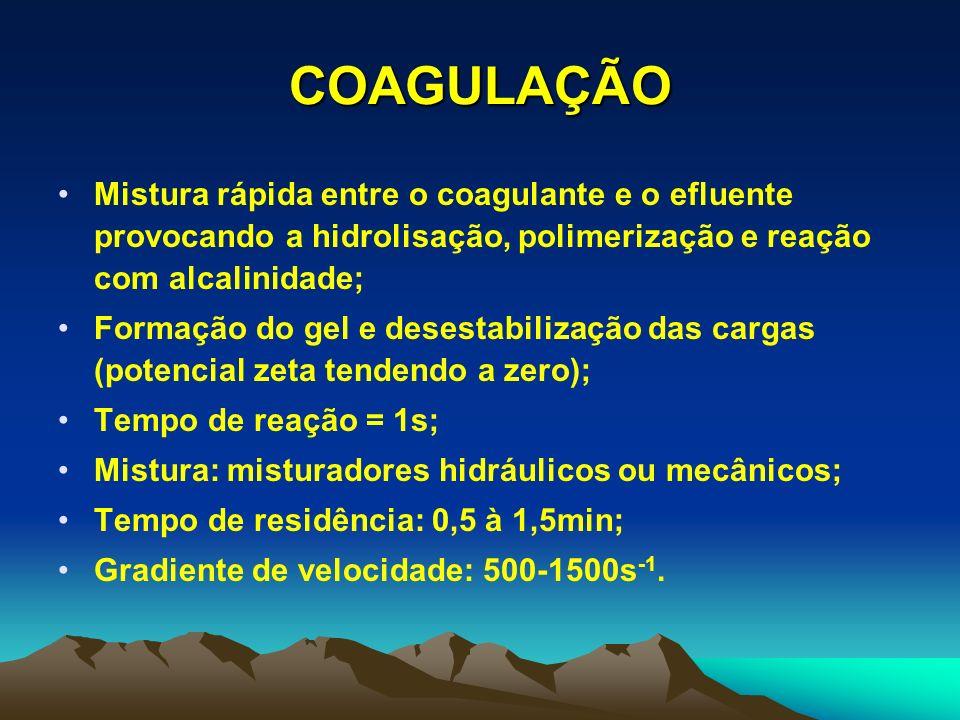 COAGULAÇÃO Mistura rápida entre o coagulante e o efluente provocando a hidrolisação, polimerização e reação com alcalinidade;
