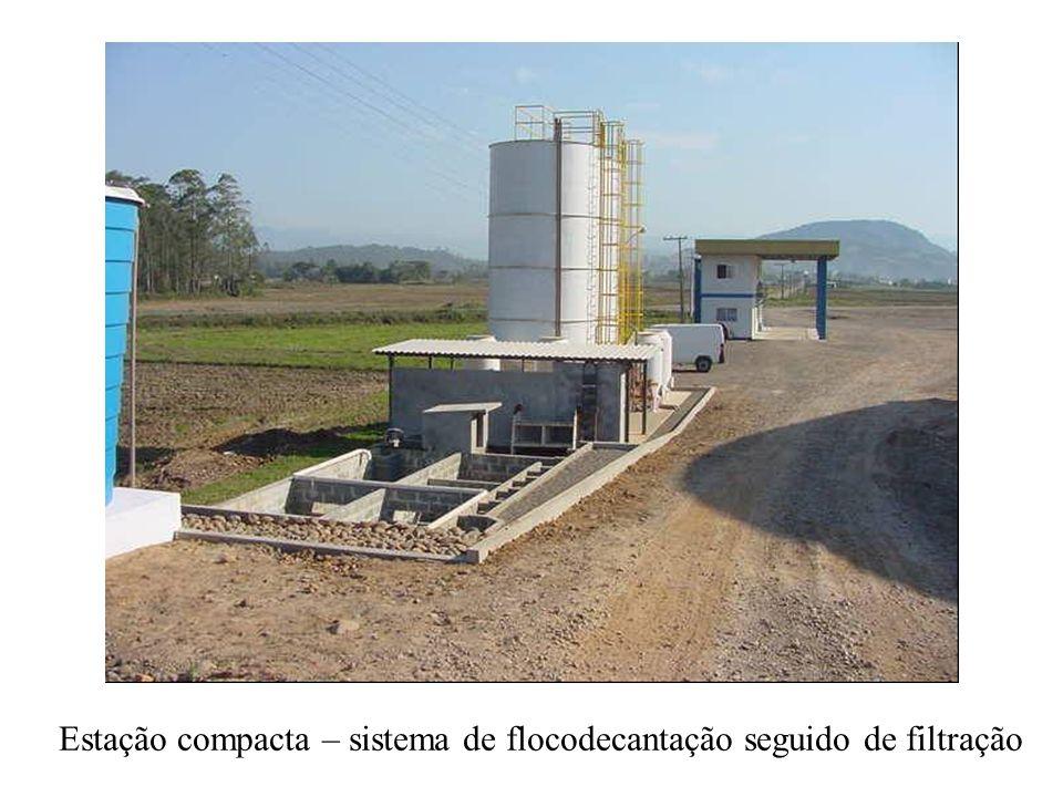 Estação compacta – sistema de flocodecantação seguido de filtração