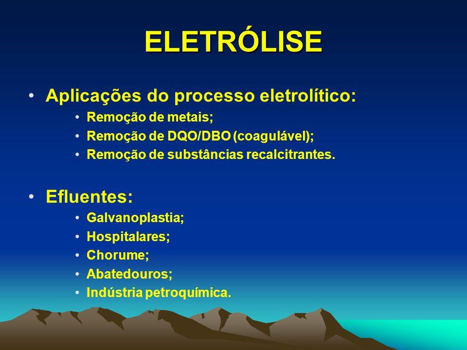 ELETRÓLISE Aplicações do processo eletrolítico: Efluentes: