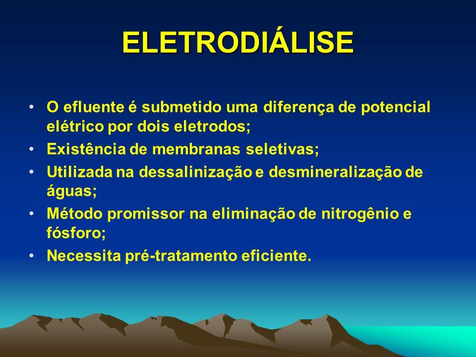 ELETRODIÁLISE O efluente é submetido uma diferença de potencial elétrico por dois eletrodos; Existência de membranas seletivas;