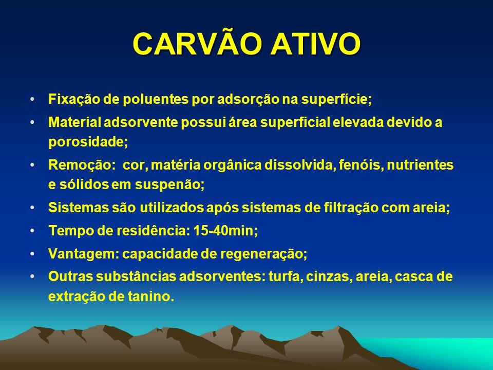 CARVÃO ATIVO Fixação de poluentes por adsorção na superfície;